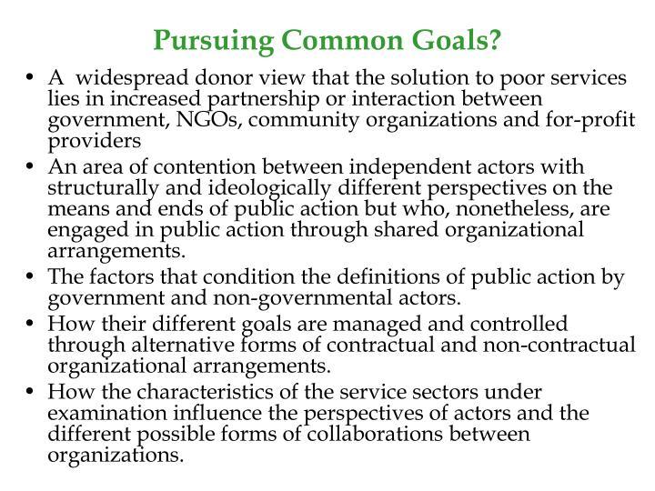 Pursuing Common Goals?