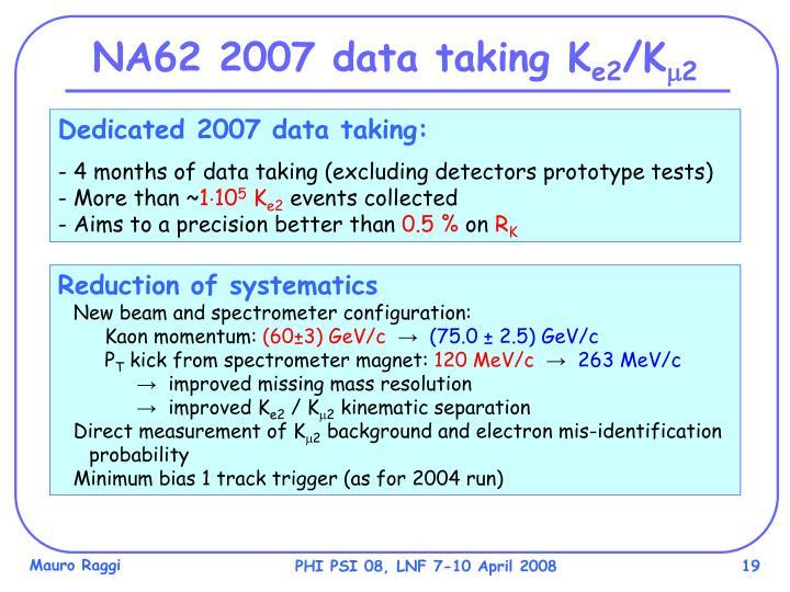 NA62 2007 data taking K