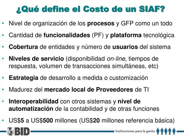 ¿Qué define el Costo de un SIAF?