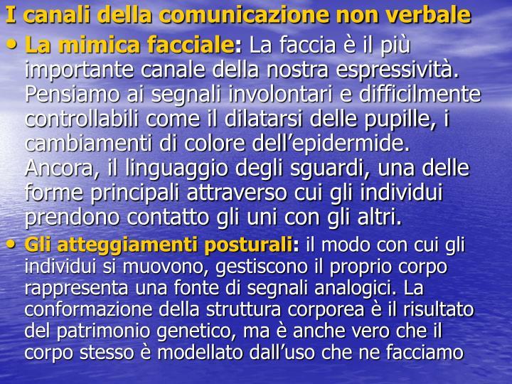 I canali della comunicazione non verbale