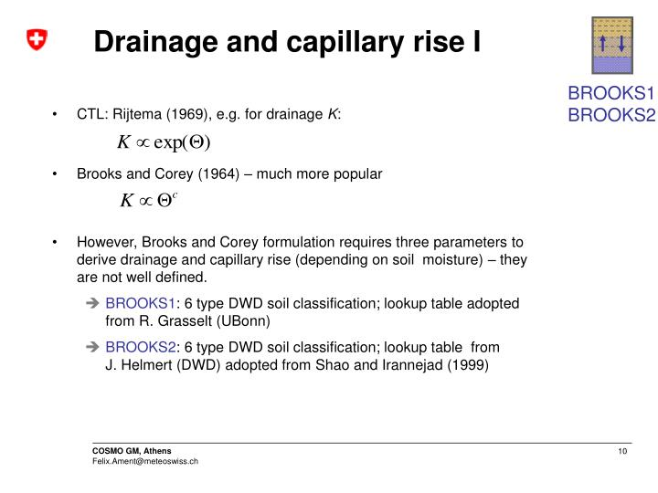 Drainage and capillary rise I