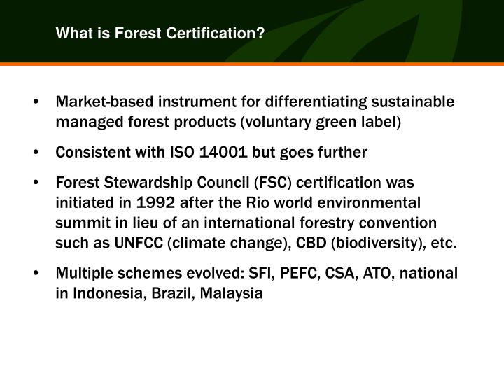 What is Forest Certification?