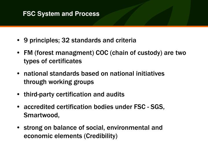FSC System and Process