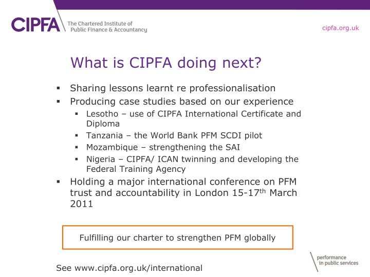 What is CIPFA doing next?