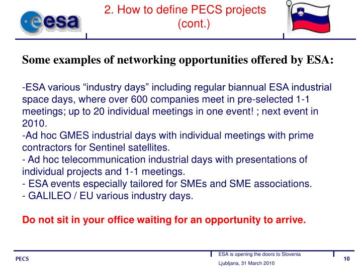 2. How to define PECS projects (cont.)