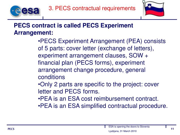 3. PECS contractual requirements