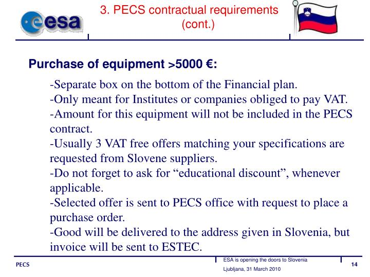 3. PECS contractual requirements (cont.)