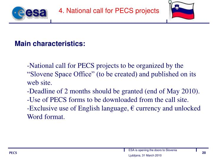 4. National call for PECS projects