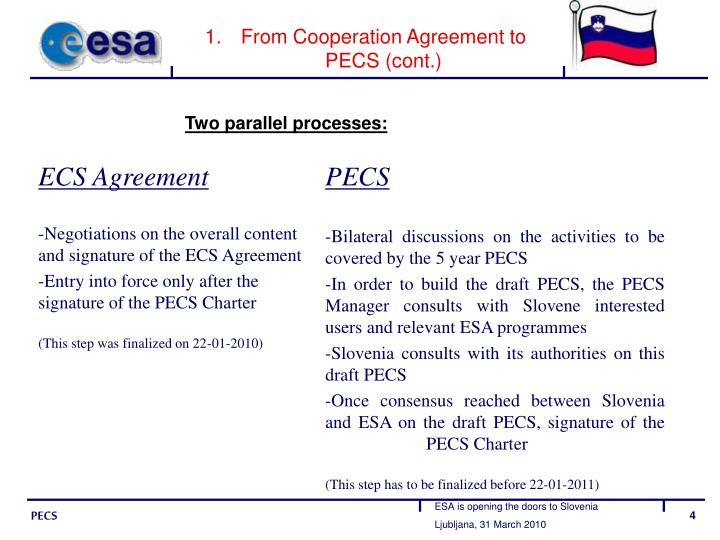 From Cooperation Agreement to PECS (cont.)