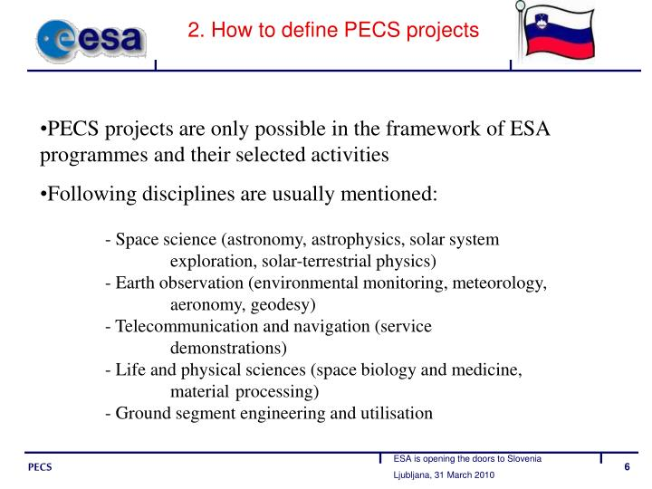2. How to define PECS projects