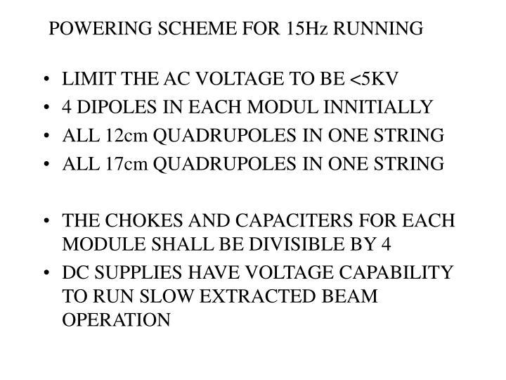 POWERING SCHEME FOR 15Hz RUNNING