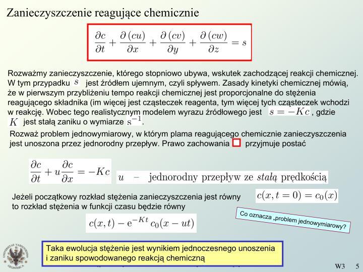 Zanieczyszczenie reagujące chemicznie