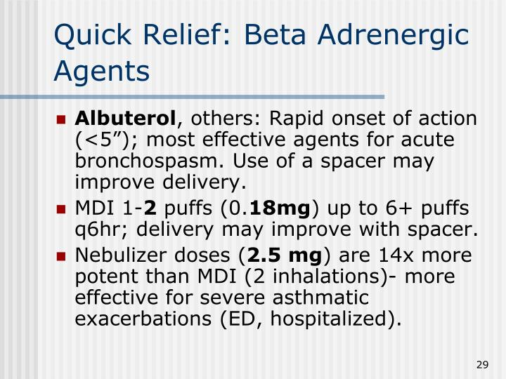 Quick Relief: Beta Adrenergic Agents