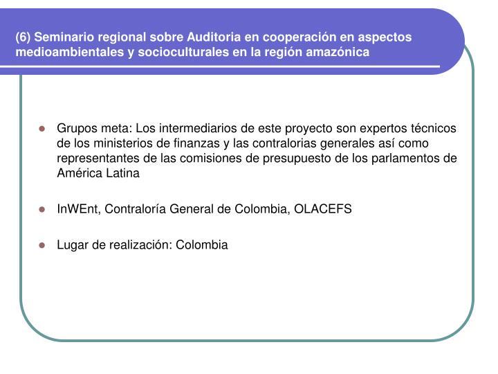(6) Seminario regional sobre Auditoria en cooperación en aspectos medioambientales y socioculturales en la región amazónica