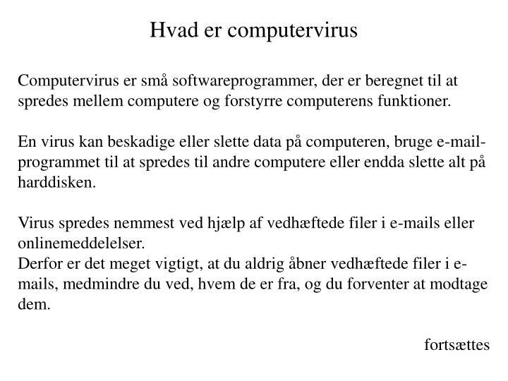 Hvad er computervirus