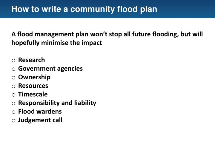 How to write a community flood plan