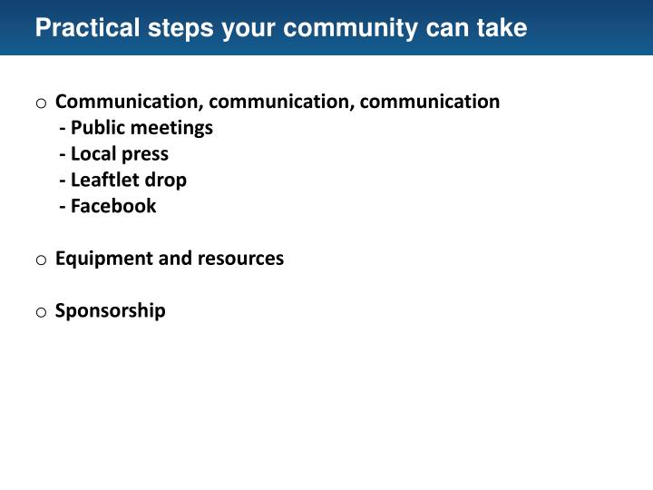 Practical steps your community can take