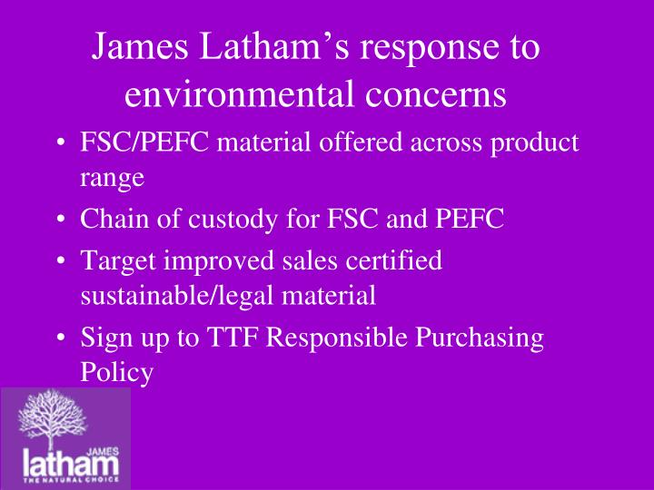 James Latham's response to environmental concerns