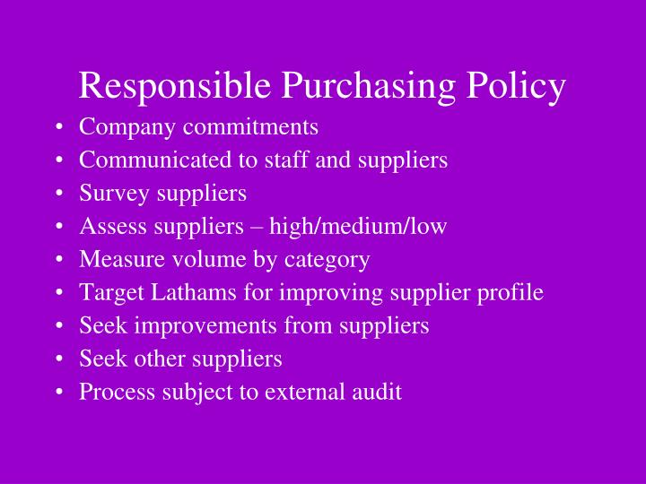 Responsible Purchasing Policy