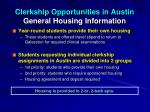 clerkship opportunities in austin general housing information