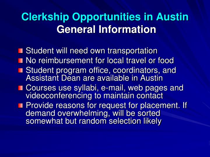 Clerkship Opportunities in Austin