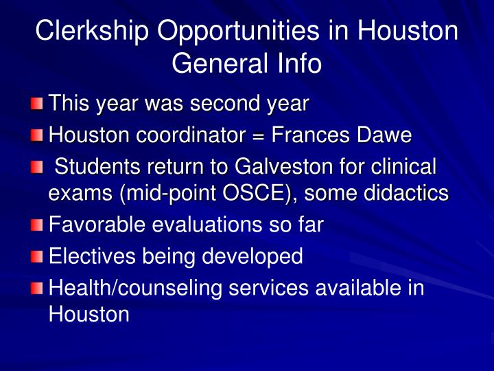 Clerkship Opportunities in Houston