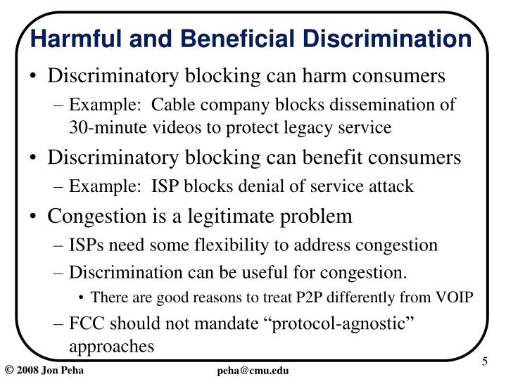Harmful and Beneficial Discrimination