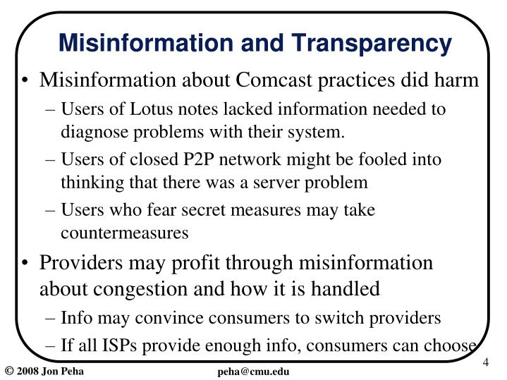 Misinformation and Transparency