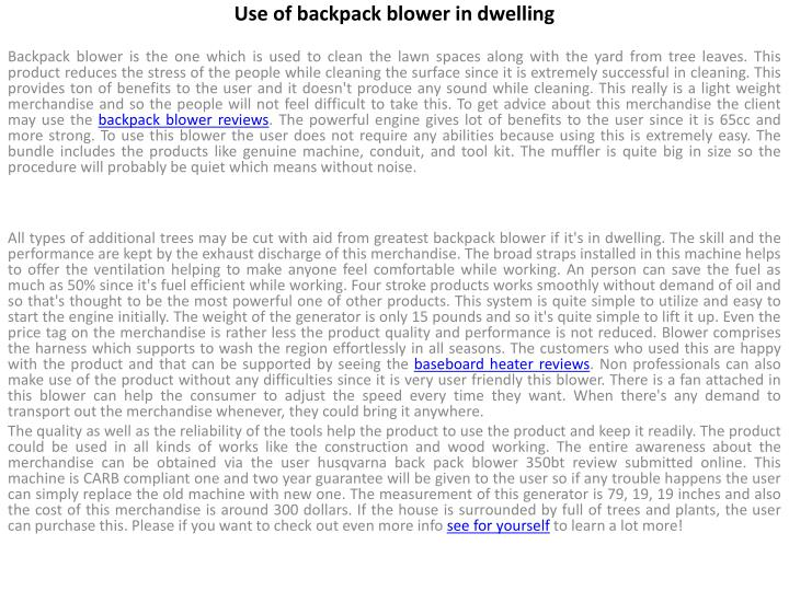 Use of backpack blower in dwelling