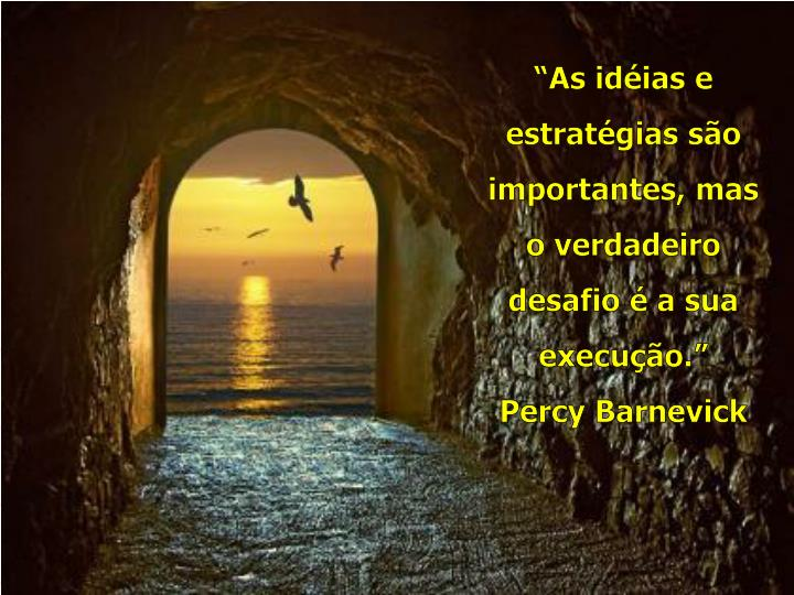 """""""As idéias e estratégias são importantes, mas o verdadeiro desafio é a sua execução."""""""