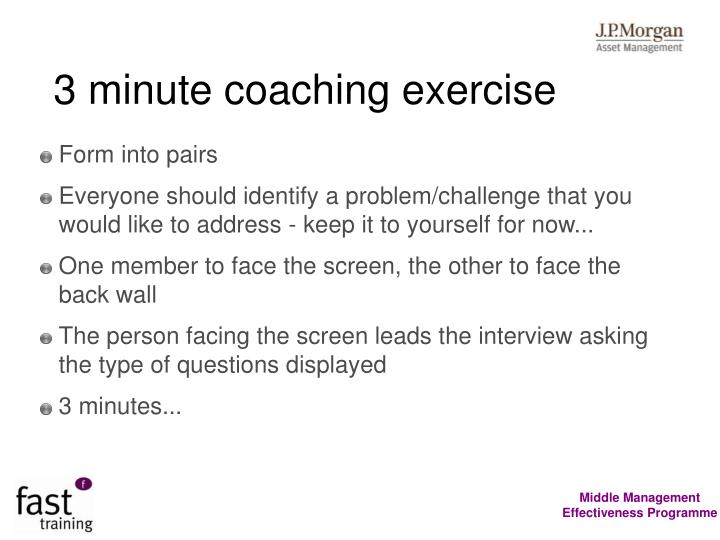 3 minute coaching exercise