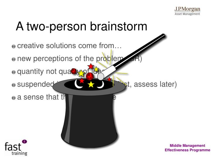 A two-person brainstorm