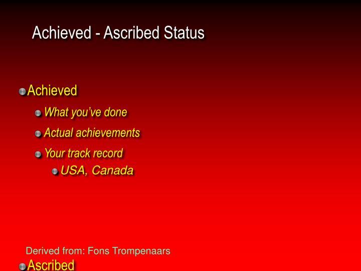 Achieved - Ascribed Status