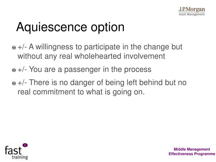 Aquiescence option