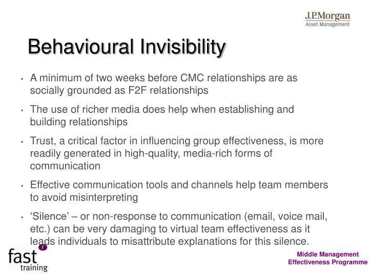 Behavioural Invisibility