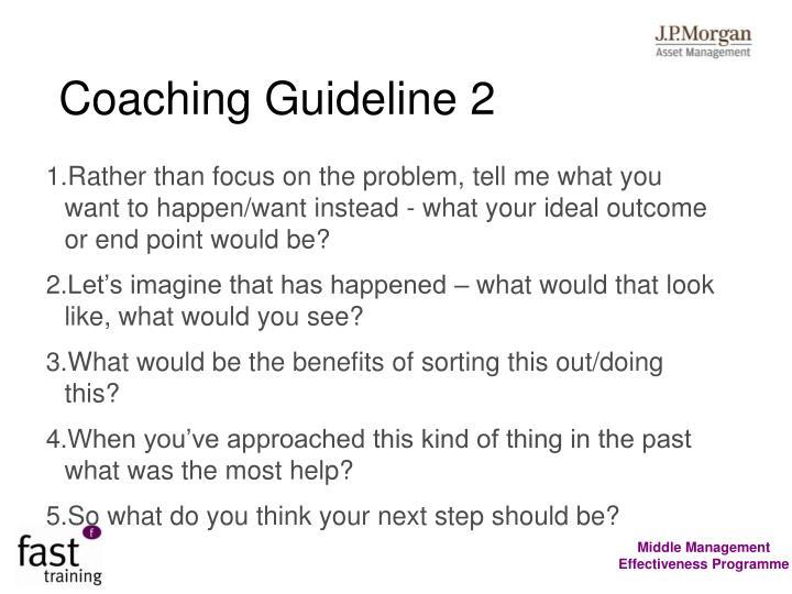 Coaching Guideline 2