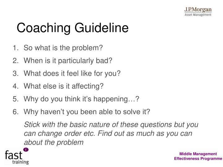 Coaching Guideline