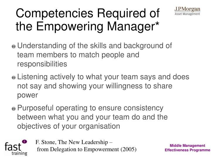 Competencies Required of the Empowering Manager*