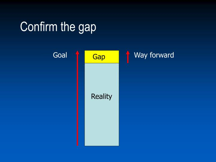 Confirm the gap