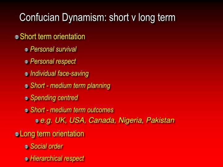 Confucian Dynamism: short v long term