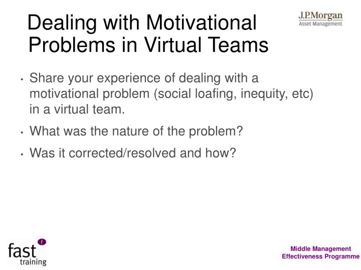 Dealing with Motivational Problems in Virtual Teams