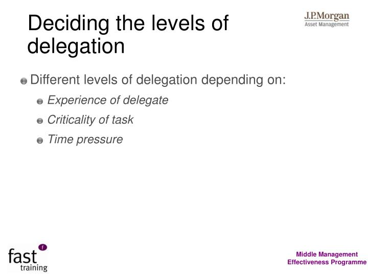Deciding the levels of delegation