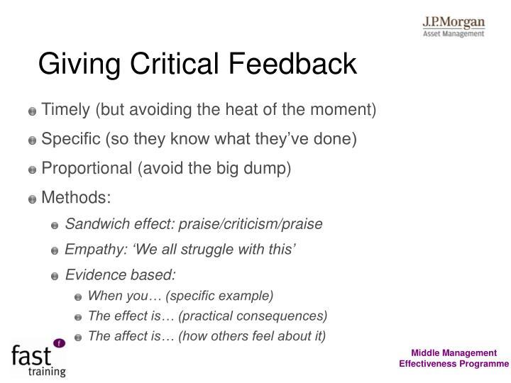 Giving Critical Feedback