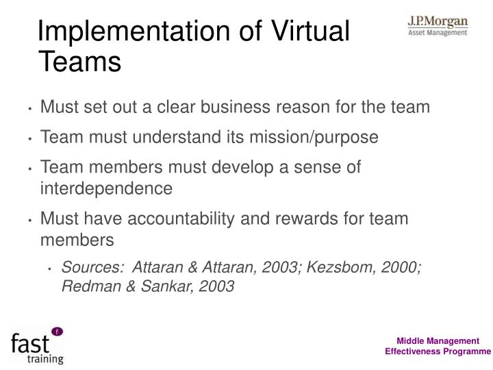 Implementation of Virtual Teams