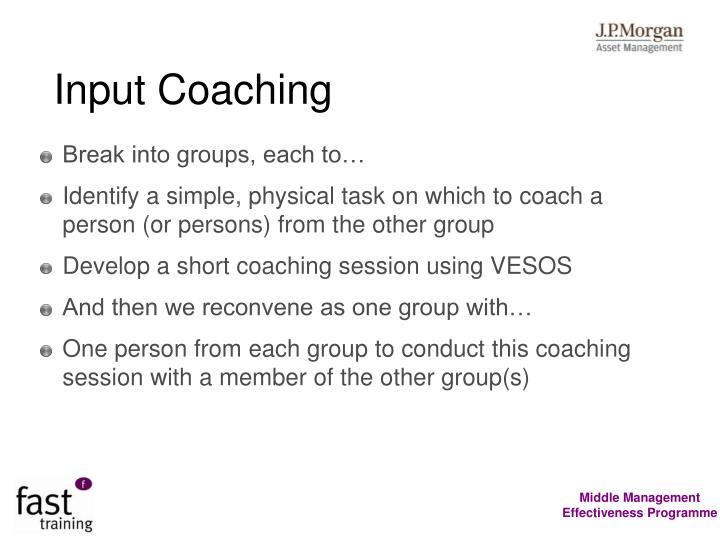 Input Coaching