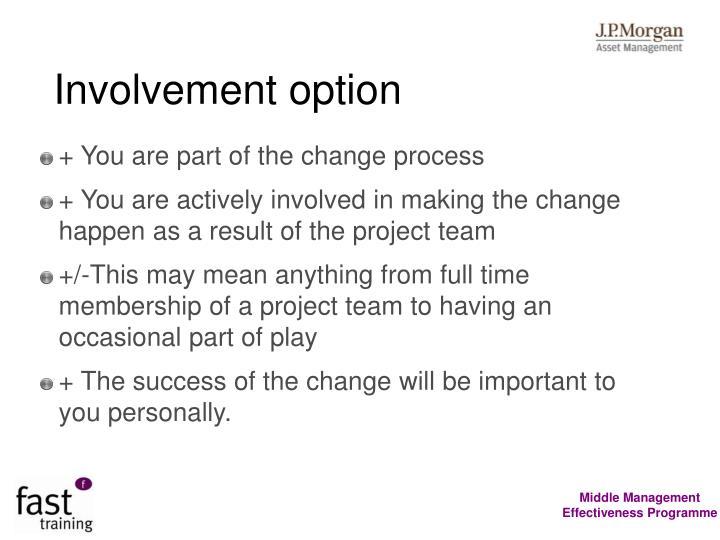 Involvement option