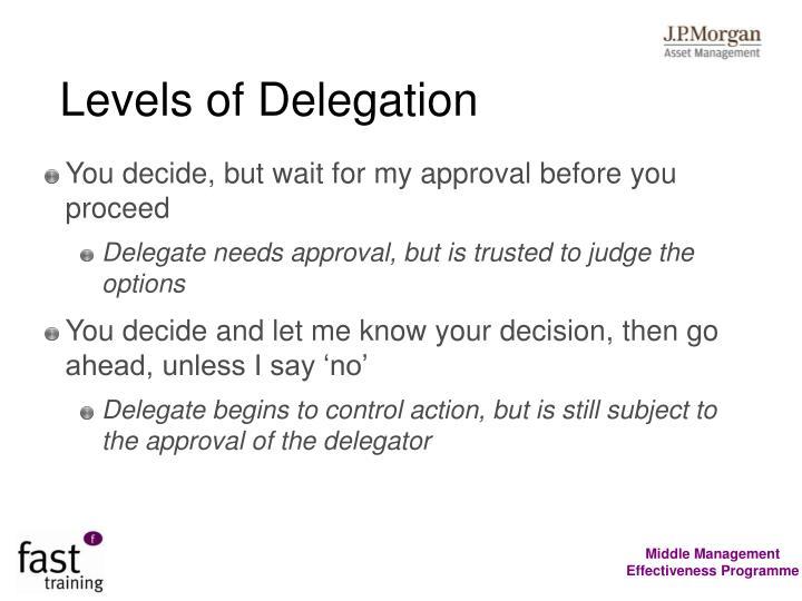 Levels of Delegation