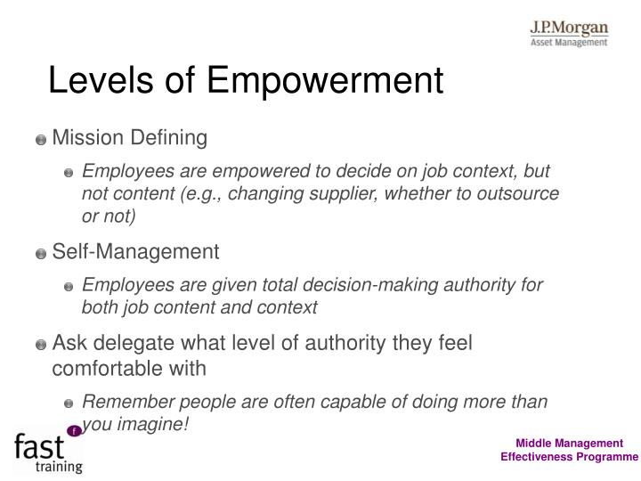 Levels of Empowerment