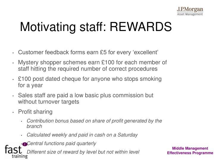Motivating staff: REWARDS