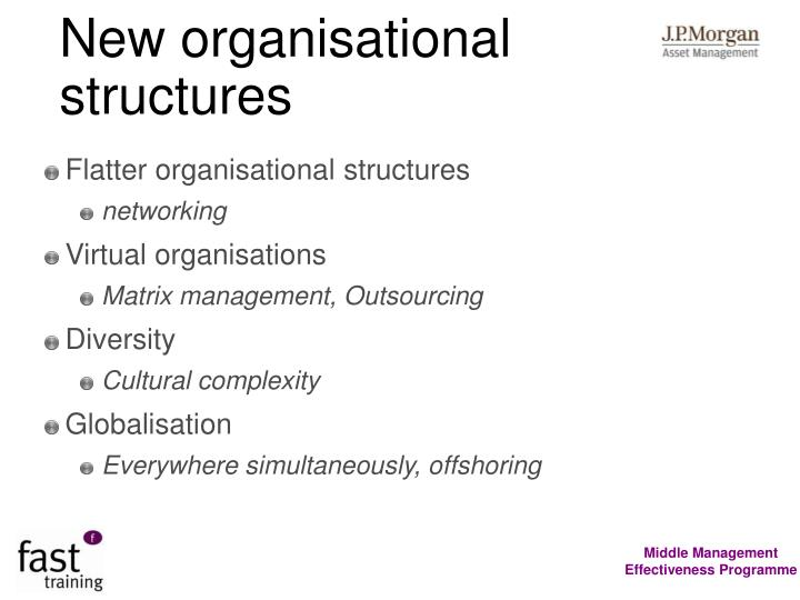 New organisational structures